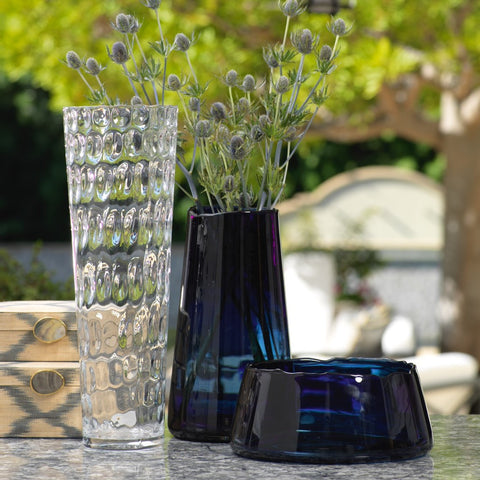 Manarola Glass Vase - Midnight Blue