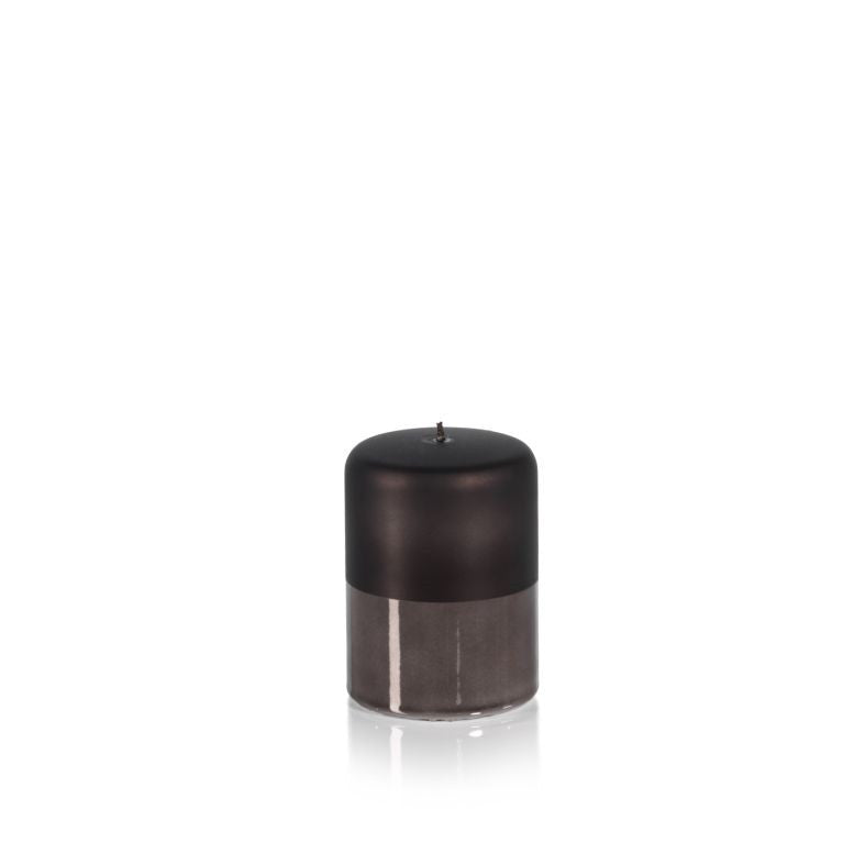 Metallic Pillar Candle in Charcoal Black