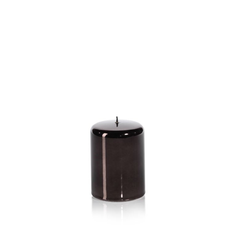 Metallic Pillar Candle in Charcoal Black - CARLYLE AVENUE