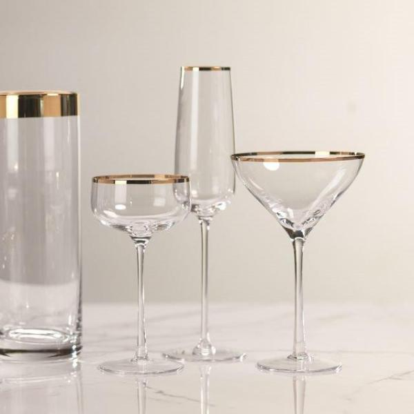 London Champagne Flute - Gold Rim - CARLYLE AVENUE