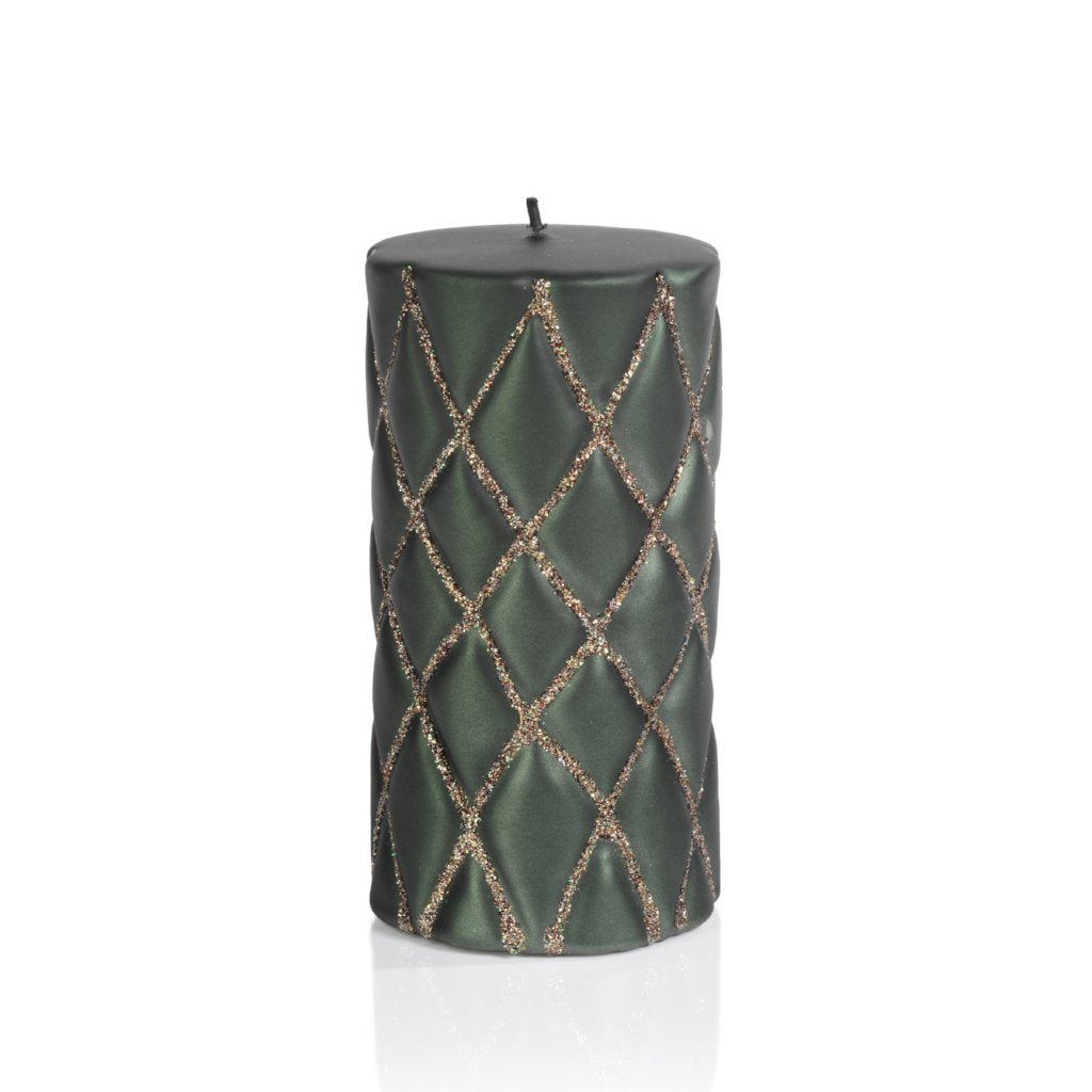 Green Velvet and Glitter Quilted Candles - CARLYLE AVENUE