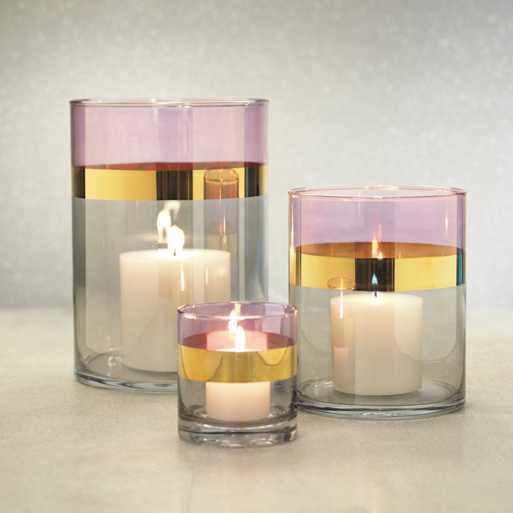 Veneto Two-Tone Luster Votive Holder - Magenta