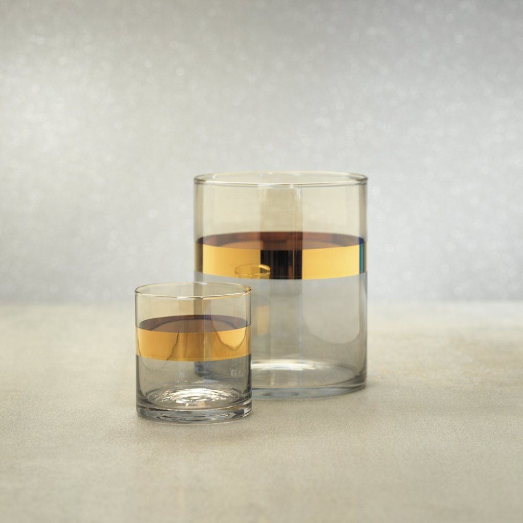 Veneto Two-Tone Luster Votive Holder - Amber