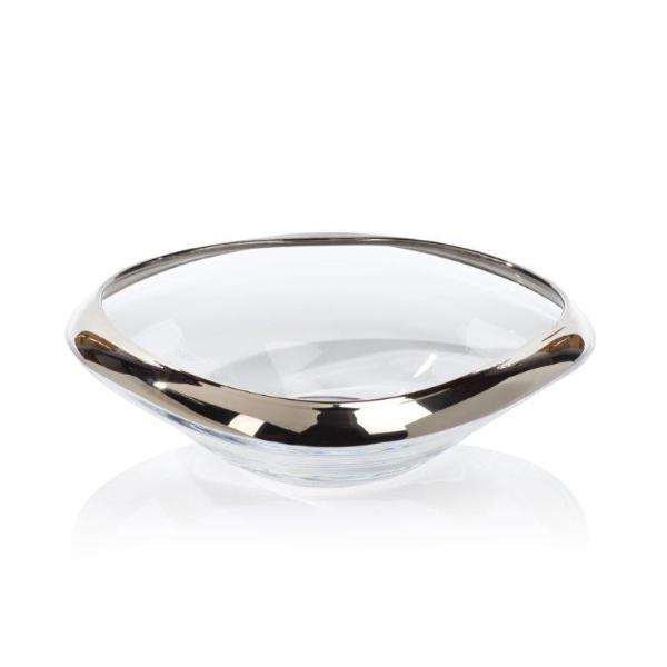 Mimar Glass Wave Fruit Bowl w/ Platinum Rim - CARLYLE AVENUE