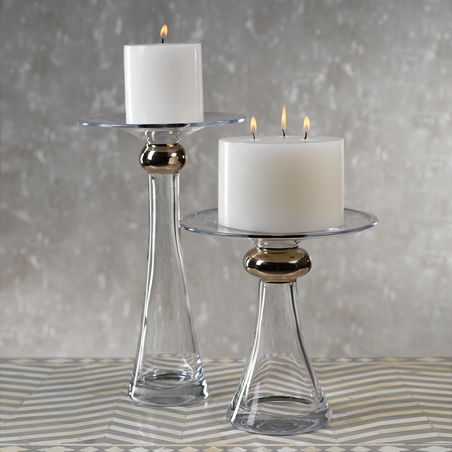 Marmorino Glass Candle Holder