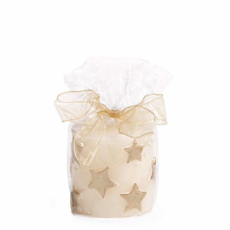 Star Embossed Pillar Candle - Set of Four - Gold - 4x4 - CARLYLE AVENUE - 4