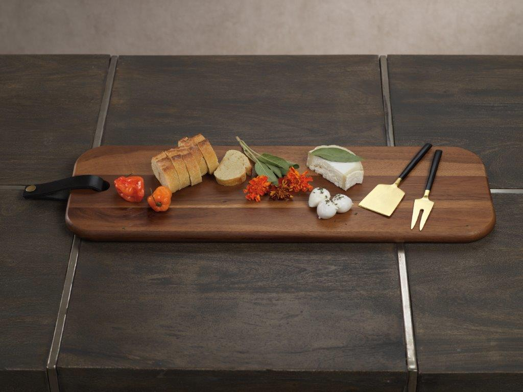 Bali Cheese Board w/ Leather Strap