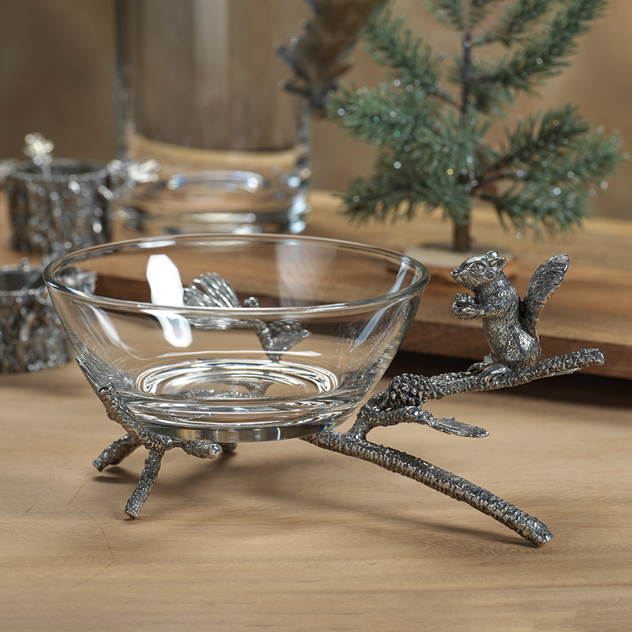 St. Anton Pewter and Glass Squirrel Bowl