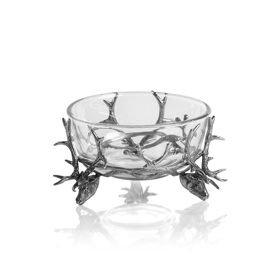 St. Anton Pewter and Glass Stag Head Bowl