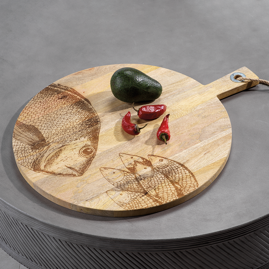 Round Natural Wood Cutting Board