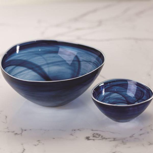 Monte Carlo Alabaster Glass Bowl - Indigo