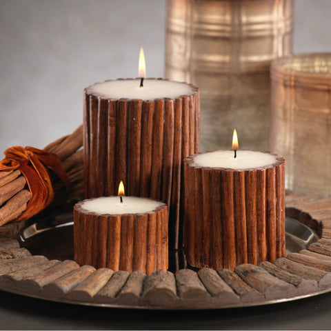 Cinnamon Stick Scented Pillar Candle - Set of Six