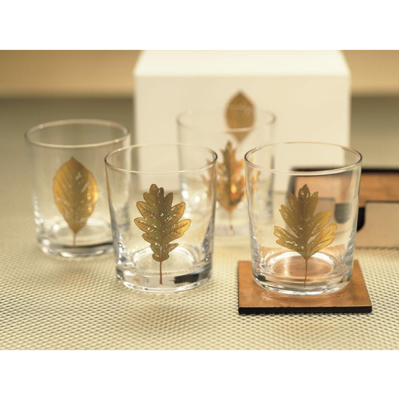 Set of 4 Feuilles Rocks Glass - CARLYLE AVENUE