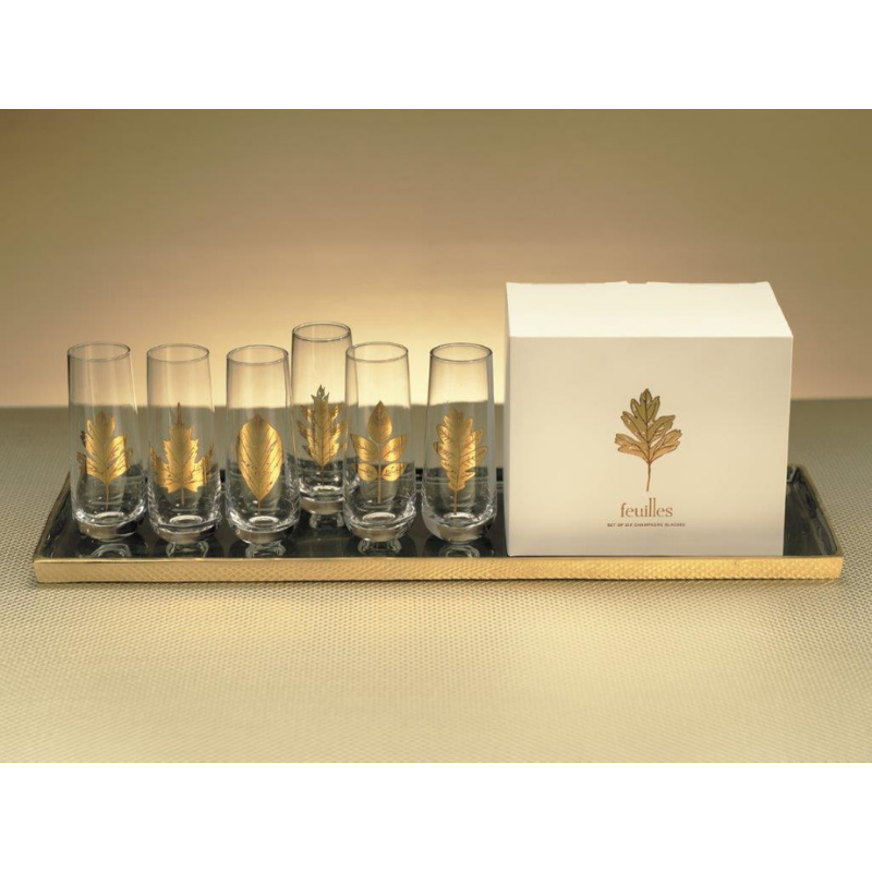 Set of 6 Feuilles Stemless Flutes - CARLYLE AVENUE