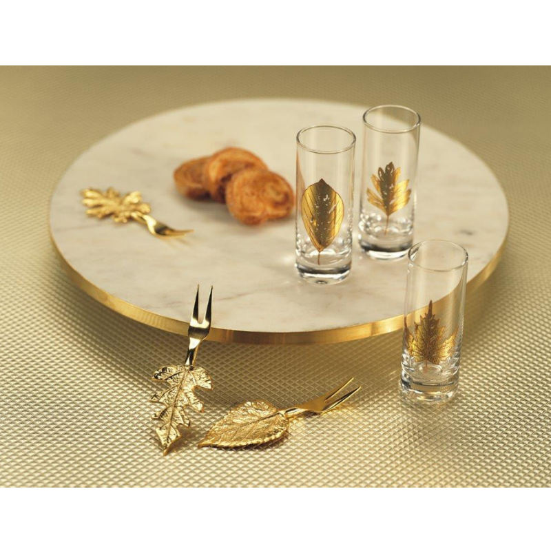 Olivia Marble Lazy Susan - GOLD