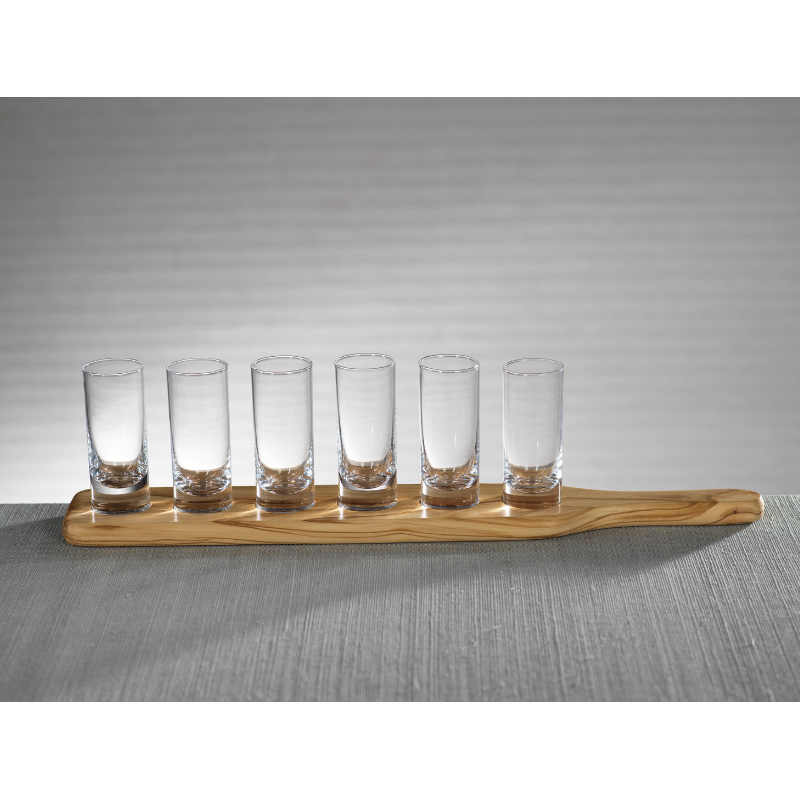 Set of 6 Shot Glasses on Wood Base
