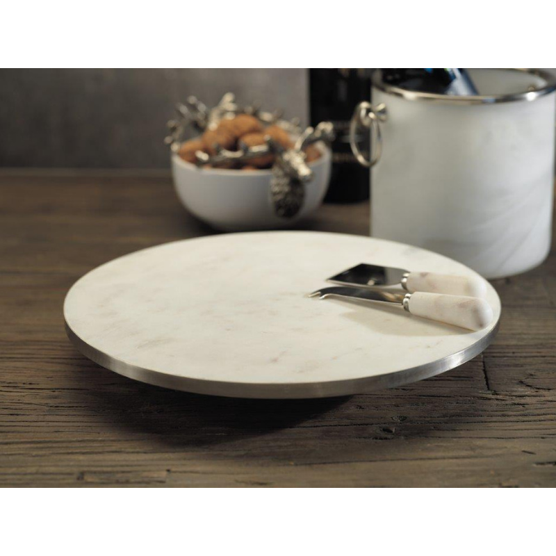 Olivia Marble Lazy Susan - SILVER - CARLYLE AVENUE