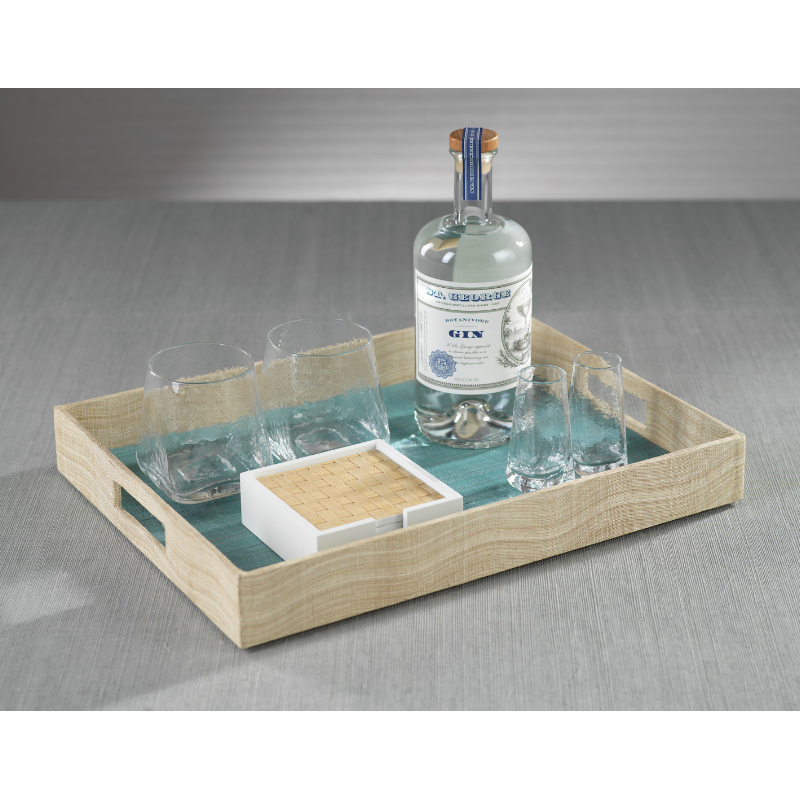 Agrari Abaca Silk Rectangular Tray - Blue - CARLYLE AVENUE