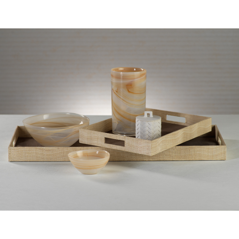 Agrari Abaca Silk Woven Cane Tray - Taupe - CARLYLE AVENUE