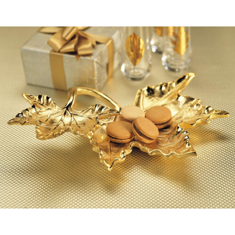 2 Tiered Gold Leaf Condiment Tray - CARLYLE AVENUE
