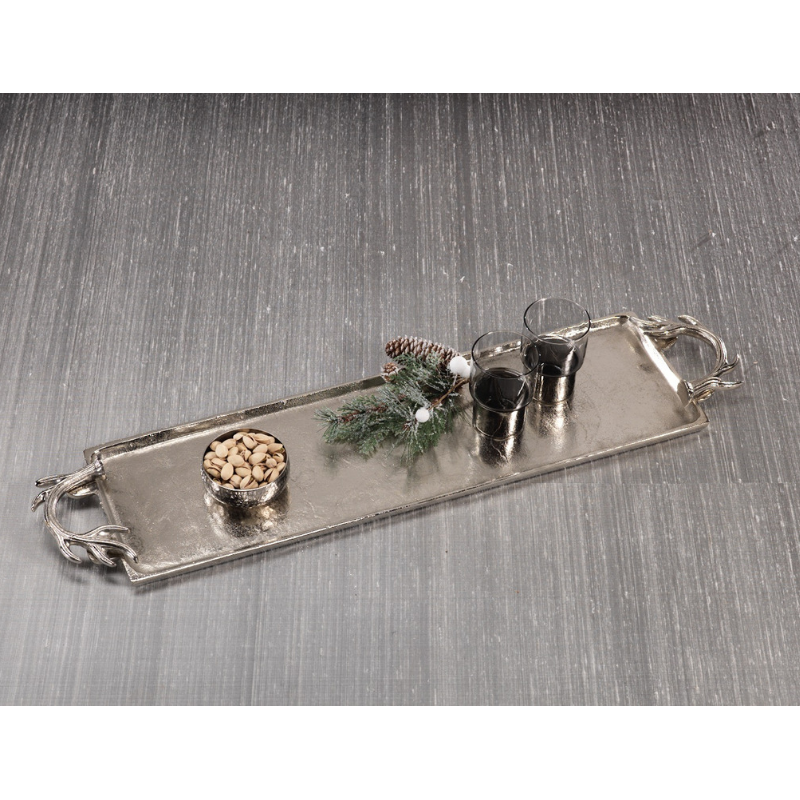 Aluminum Nickel Plated Tray w/ Antler Handles - CARLYLE AVENUE