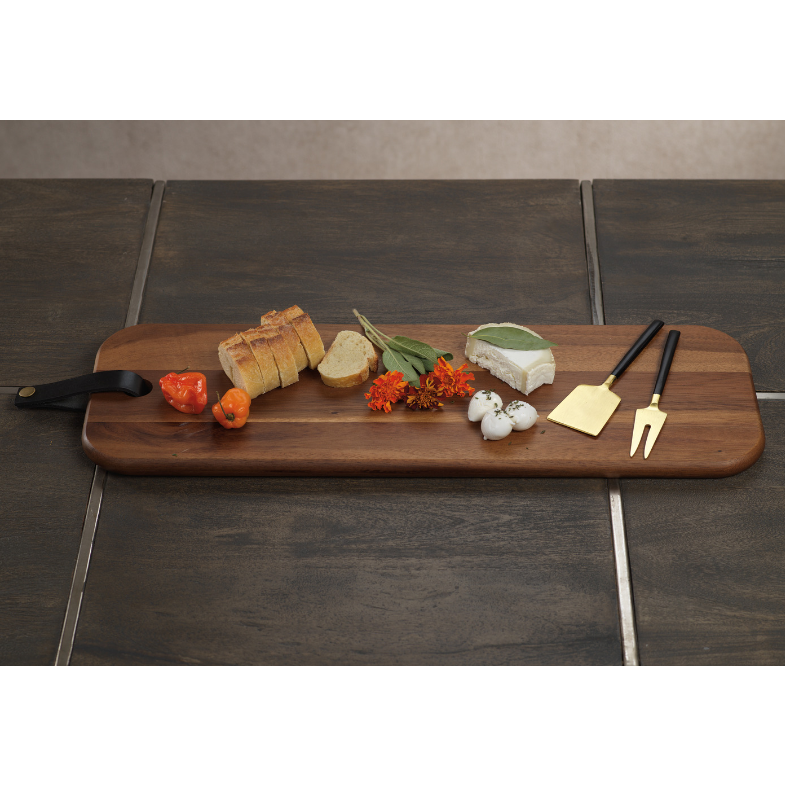 Bali Cheese Board w/ Leather Strap - CARLYLE AVENUE