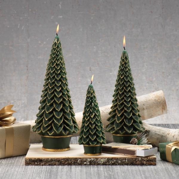 Gold Trim Christmas Tree Candle - Green - CARLYLE AVENUE
