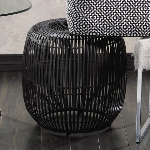 Black Bamboo Stool