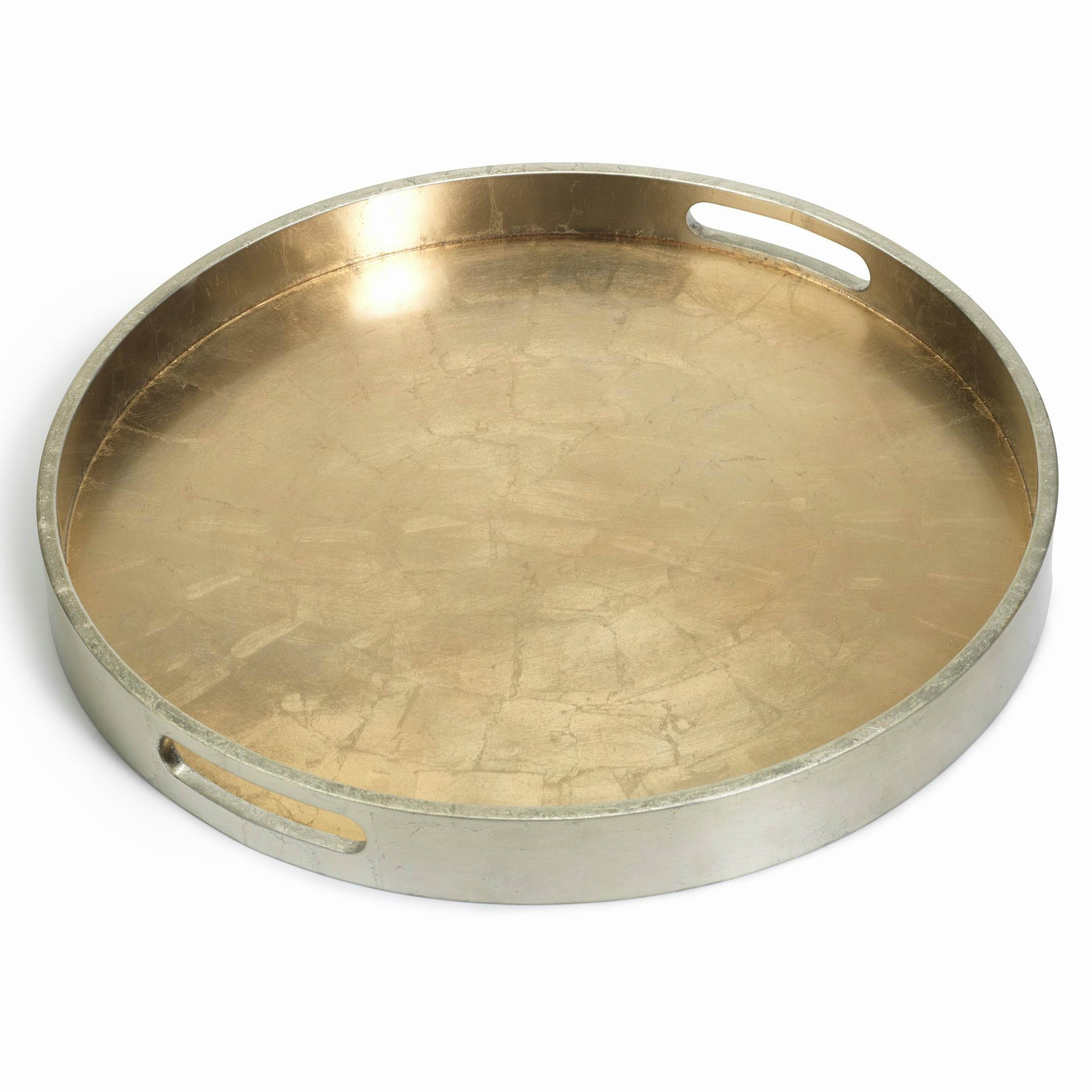 Round Antique Gold & Silver Serving Tray - CARLYLE AVENUE