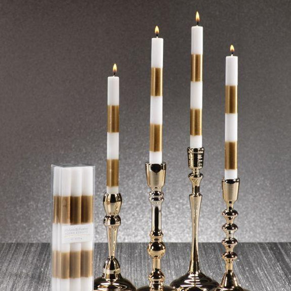 Modern & Festive Gold Formal Taper Candles - Box of 6