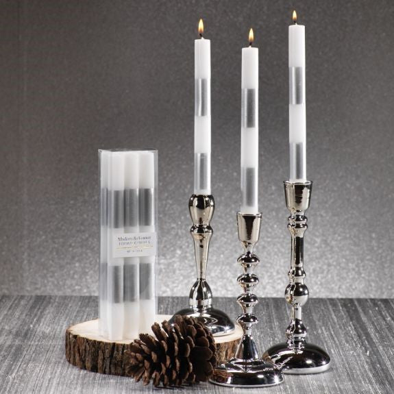 Modern & Festive Silver Formal Taper Candles - Set of 6