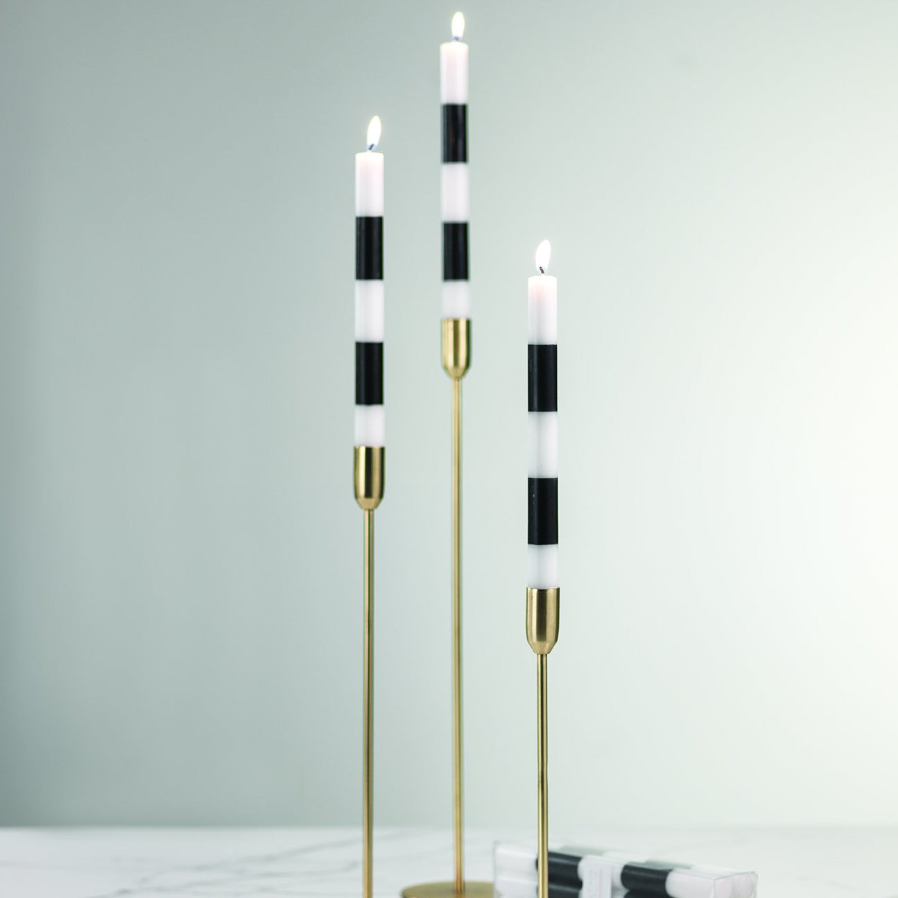 Modern & Festive Black Formal Taper Candles - Box of 6