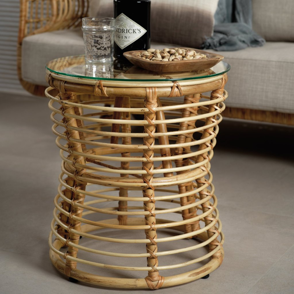 Adrina Rattan Small Table w/ Glass - CARLYLE AVENUE