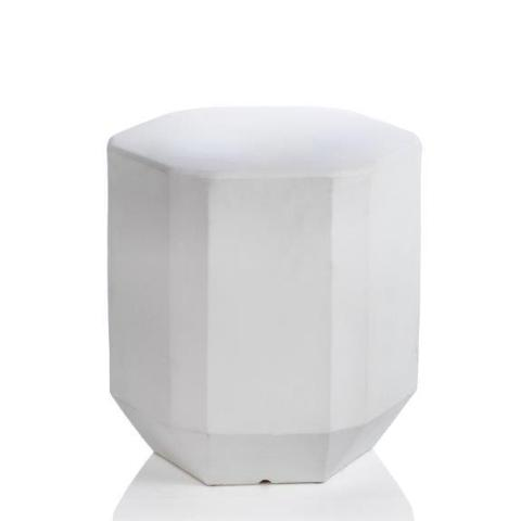 Beveled Earthenware Stool - White - CARLYLE AVENUE