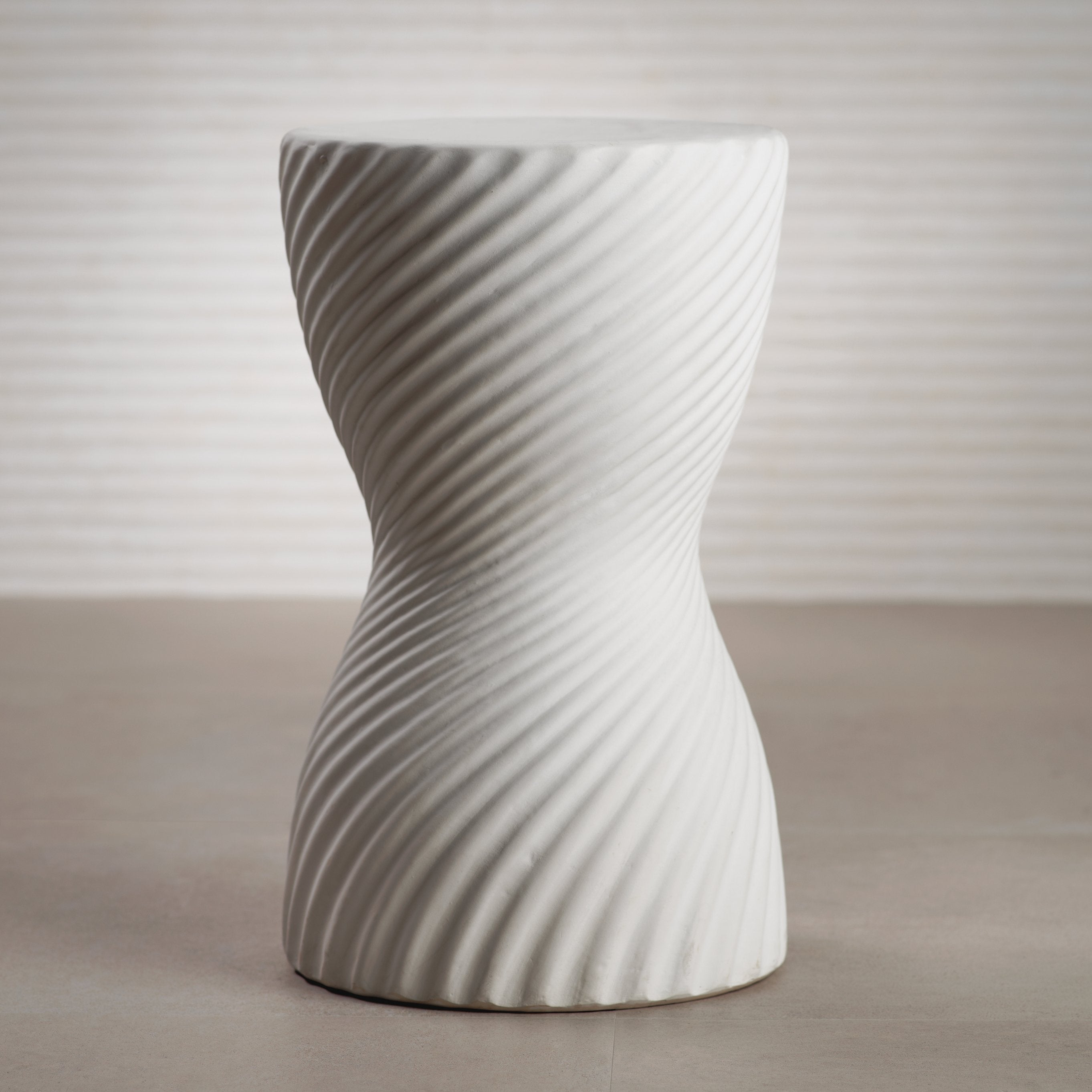 Twisted Ribbed Earthenware Stool - CARLYLE AVENUE