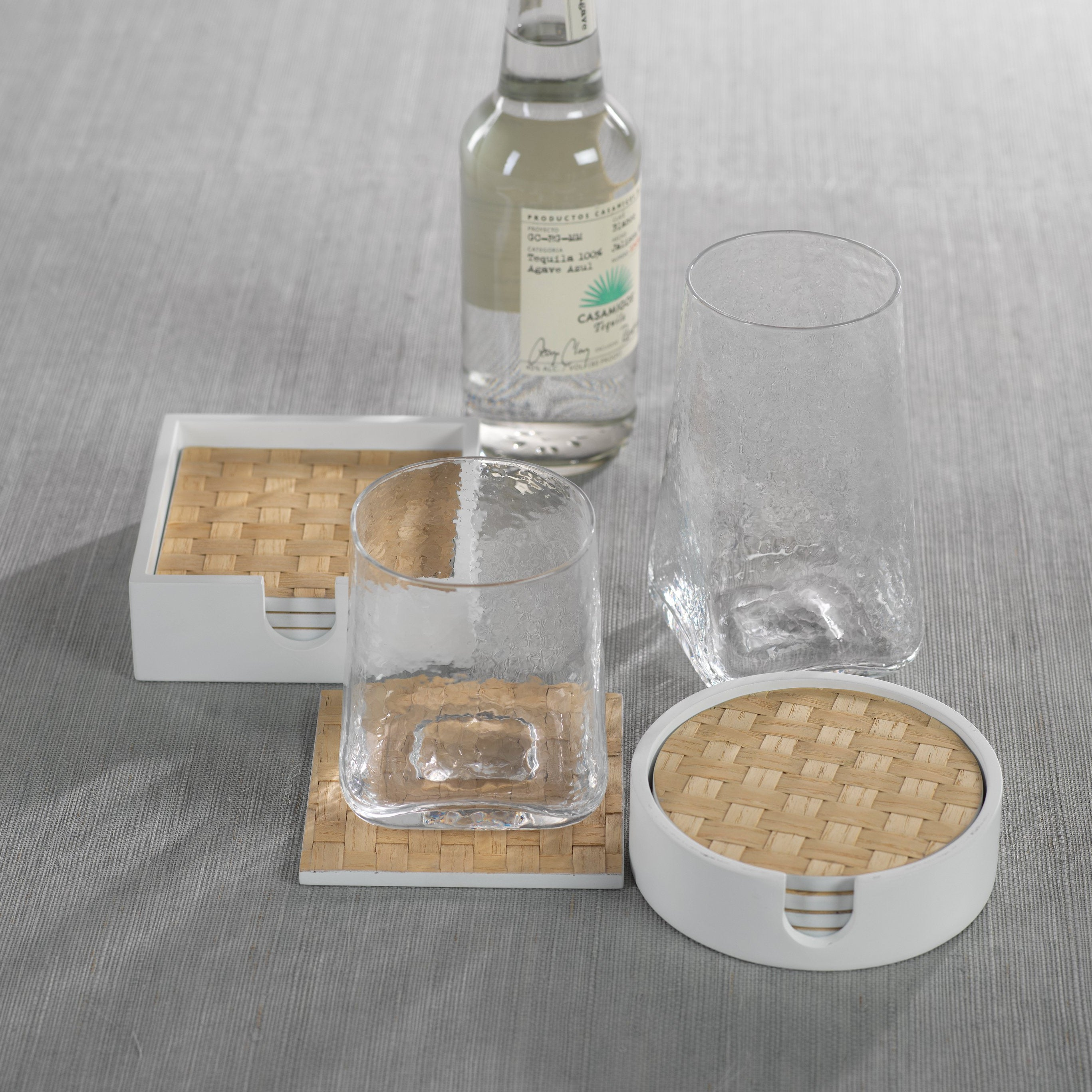 S/4 Woven Ash Coaster in White Tray - CARLYLE AVENUE