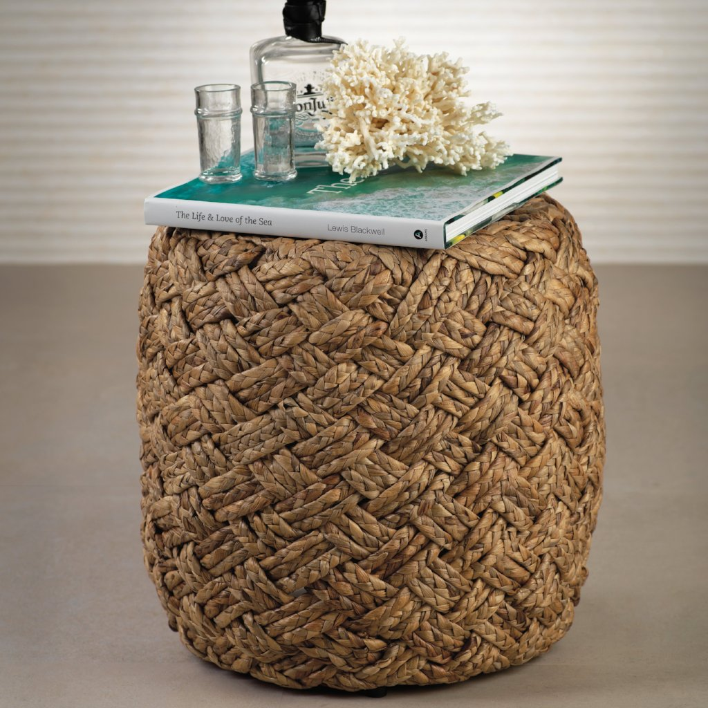 Canaves Woven Hyacinth Stool - CARLYLE AVENUE