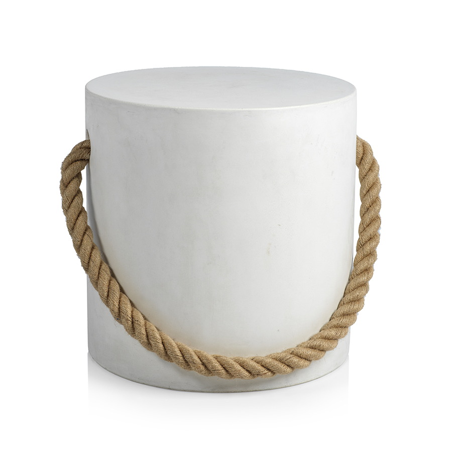 Marina Concrete Stool w/Rope Accent - White