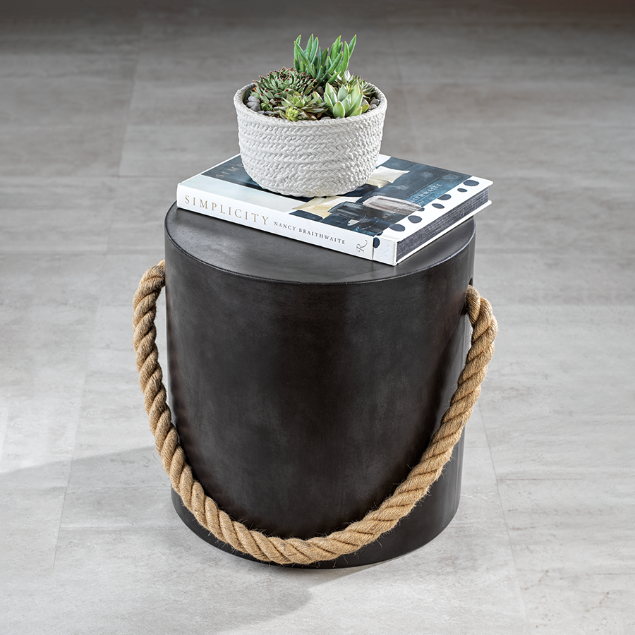 Marina Concrete Stool w/Rope Accent - Black