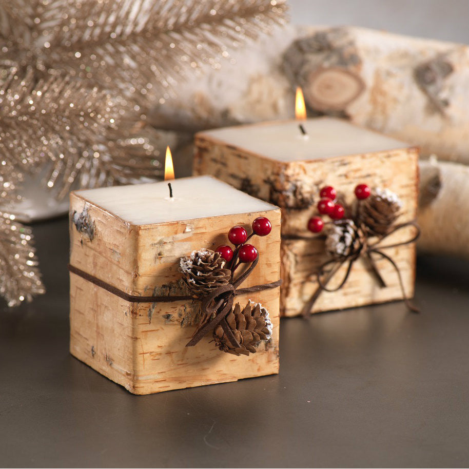 Square Birchwood Candle with Trim - Set of 3 -  - CARLYLE AVENUE - 2