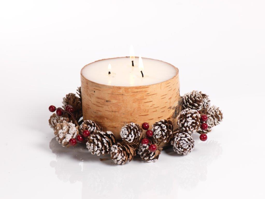 Birch Candle Gift Set w/Tray & Wreath - CARLYLE AVENUE