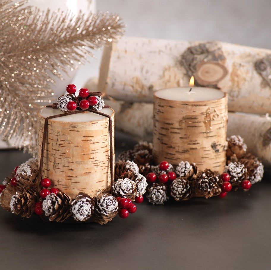 Birchwood Candle Gift Set with Tray & Pinecone Wreath - Set of 3