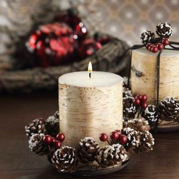 Birchwood Candle Gift Set with Tray & Pinecone Wreath - Set of 3 - CARLYLE AVENUE