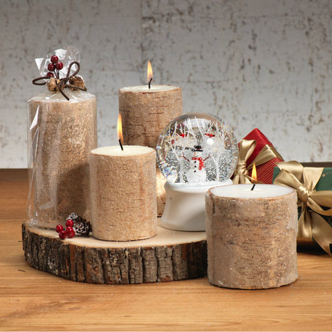North Star Frosted Bead Birchwood Candle - Set of 3