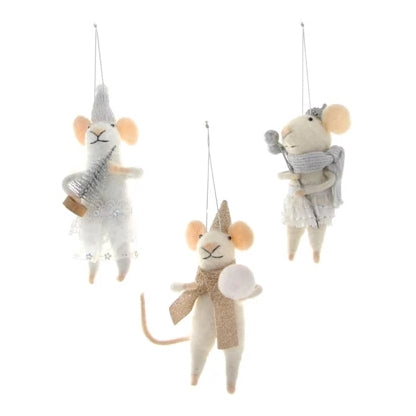 Wintertime Mice Ornaments - Set of 3