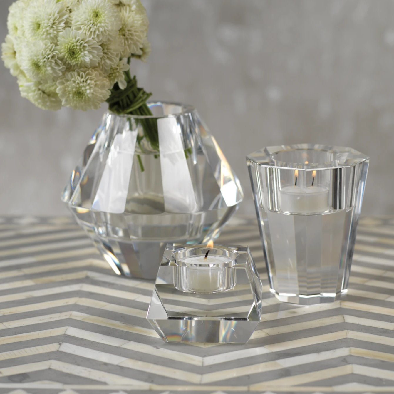 Dina Clear Crystal Tealight Holder - CARLYLE AVENUE