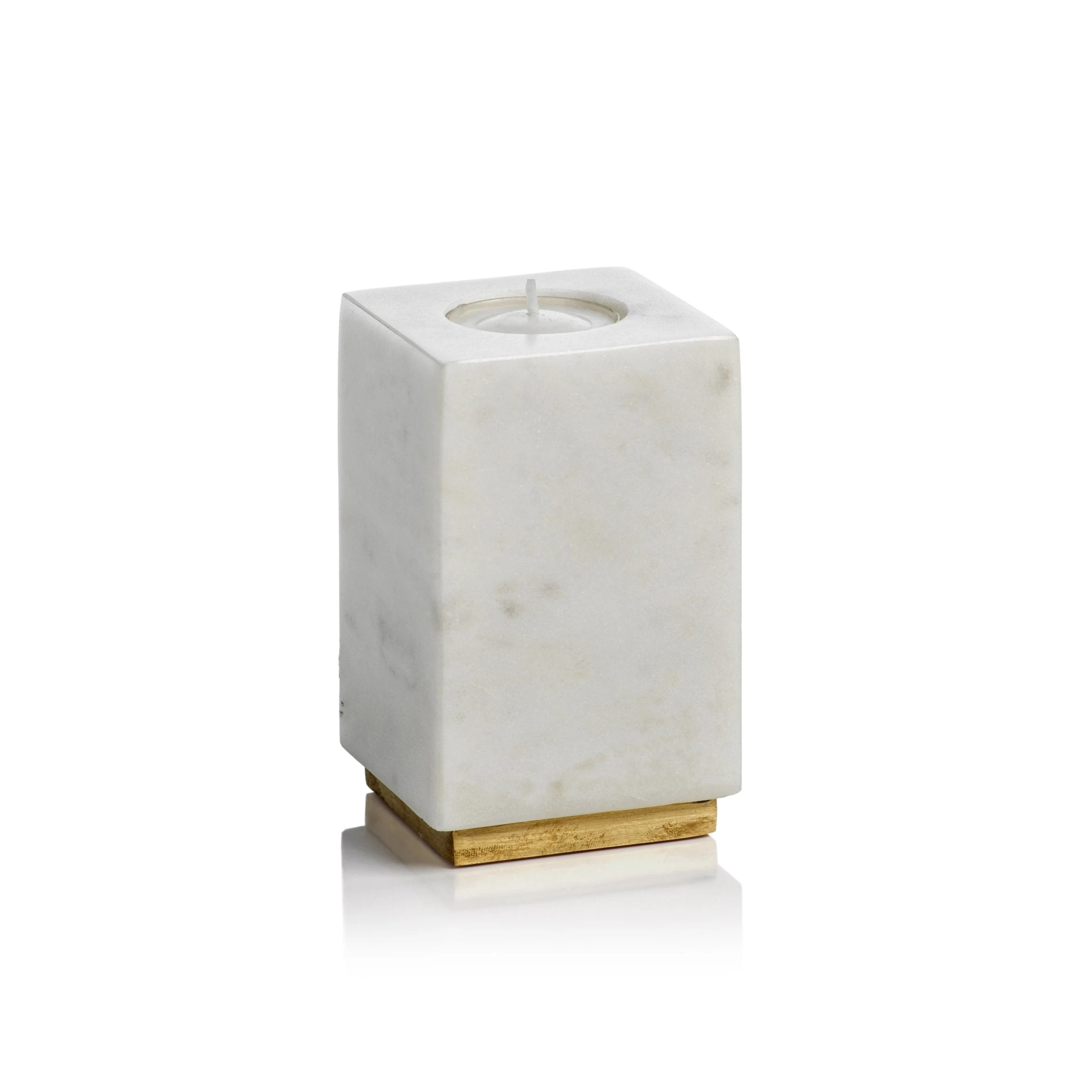 Tuscan White Marble Tealight Holder on Brass Base - CARLYLE AVENUE