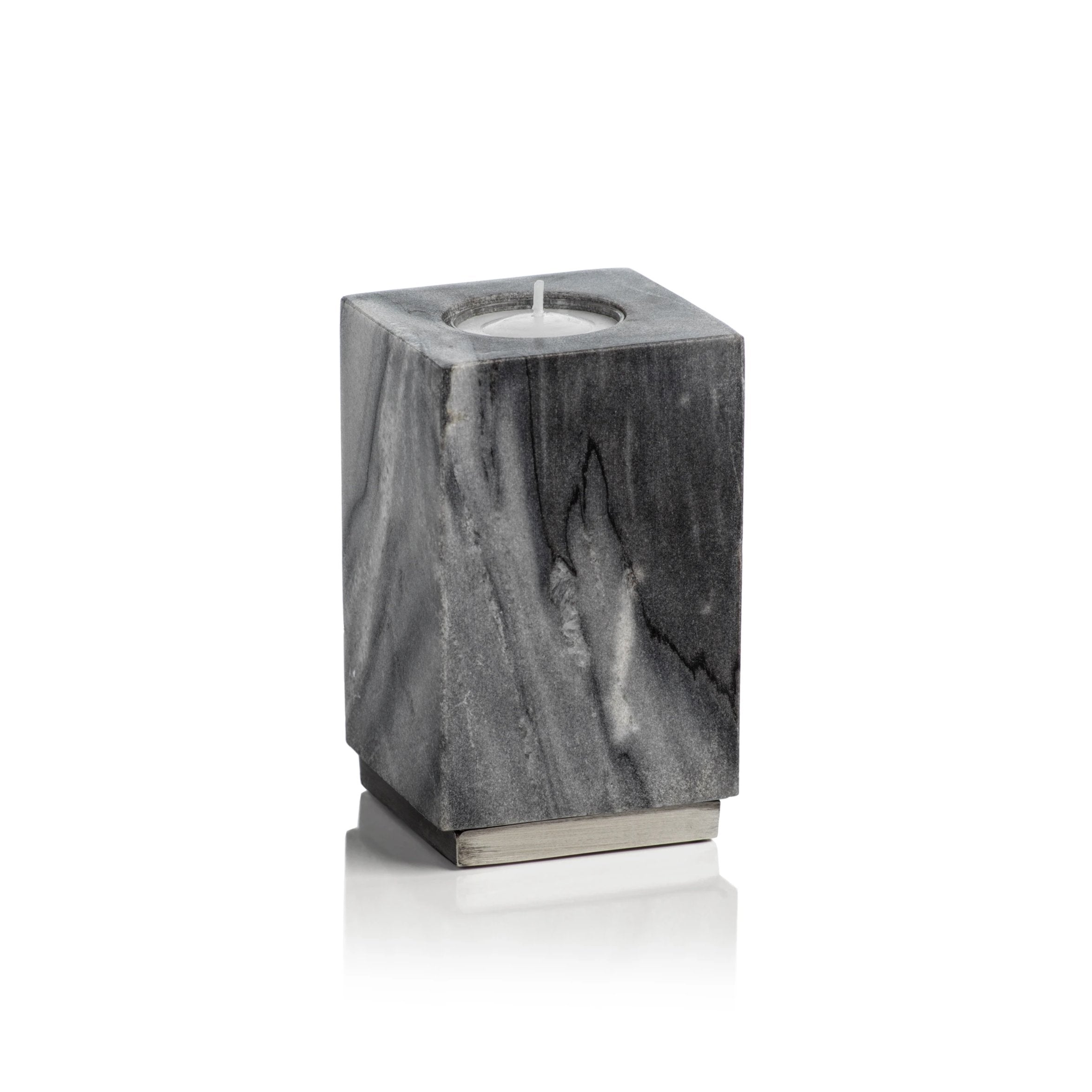 Tuscan Gray Marble Tealight Holder on Nickel Base - CARLYLE AVENUE