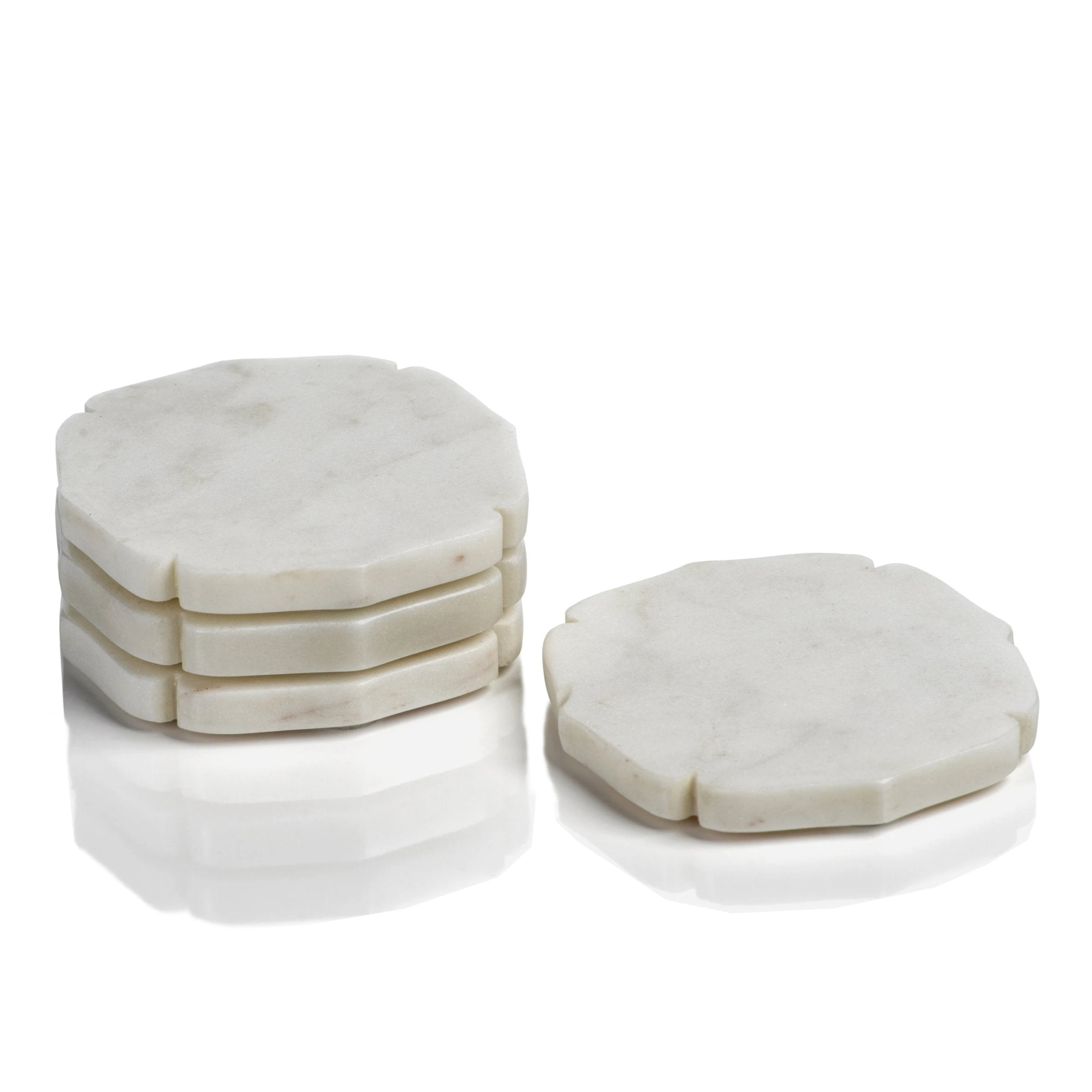 Set of 4 White Marble Coasters - CARLYLE AVENUE