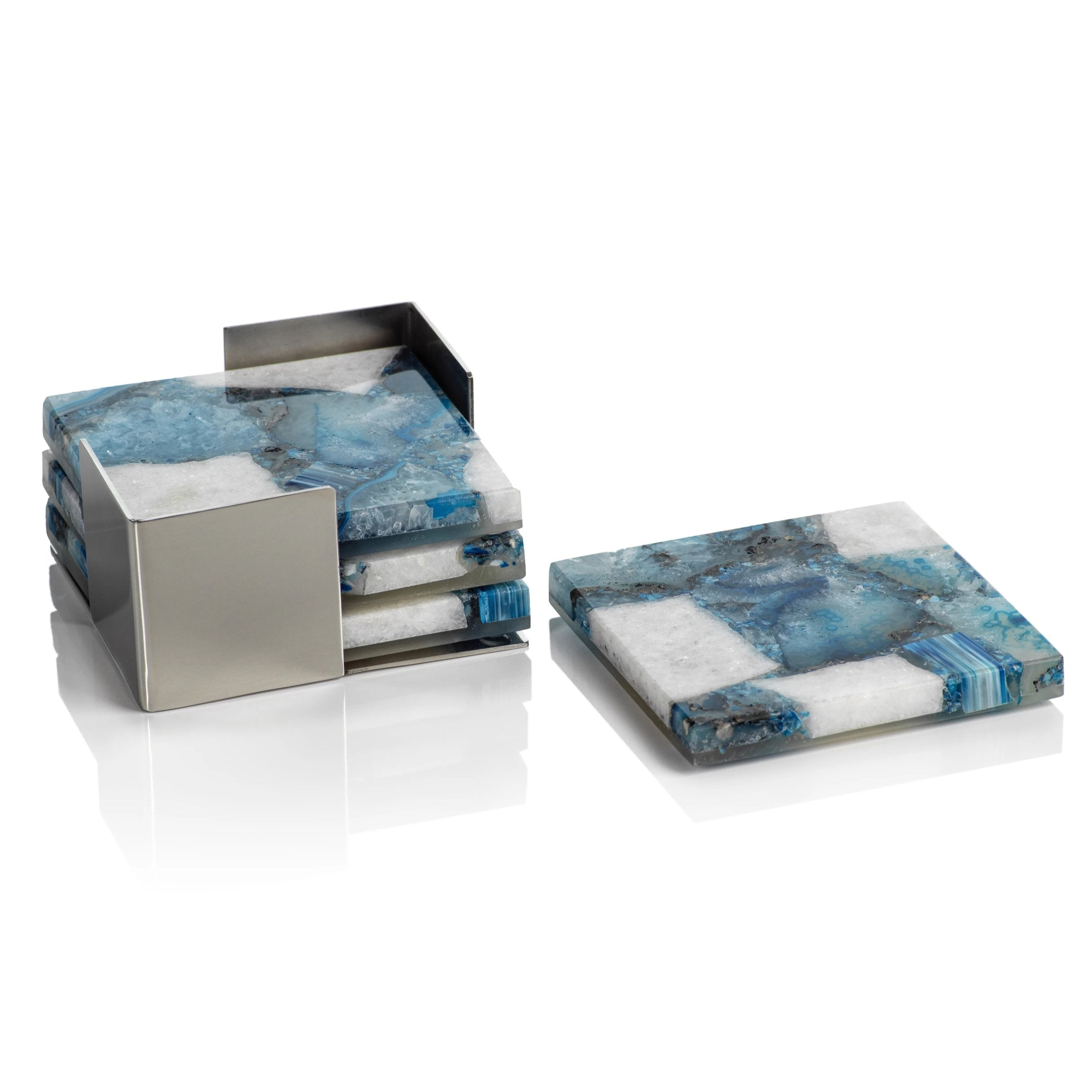 Set/4 Crete Agate Coasters on Metal Tray - Blue/White - CARLYLE AVENUE